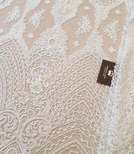 Ivory beaded lace fabric