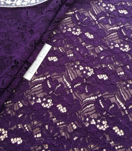 Violet guipure lace fabric