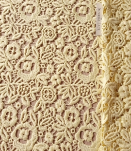 Yellow macrame lace fabric