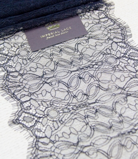 Black abstract pattern chantilly lace trim