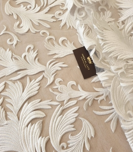 ivory thick embroidery on tulle fabric