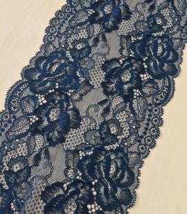 Dark blue with turquoise shade lace trim