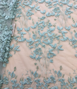 Mint green lace fabric