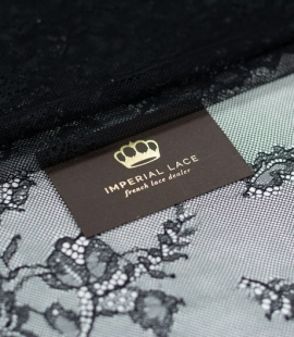 Black floral pattern chantilly lace fabric