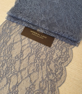 Bluish grey floral pattern lace trimming