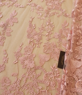 Old Rose 100% polyester floral pattern on tulle lace fabric
