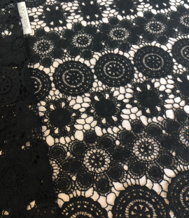 Black wool lace fabric