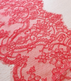 Red chantilly cotton lace trimming by Jean Bracq