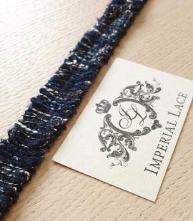 Dark blue wool lace fabric