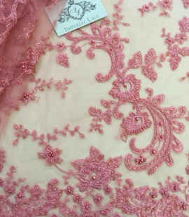 Pink beads Lace fabric