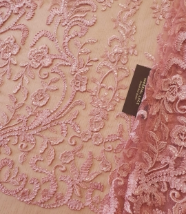Raspberry pink floral pattern embroidery sequins on soft tulle fabric