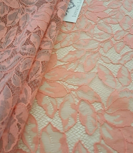 Pink with grey net Lace fabric
