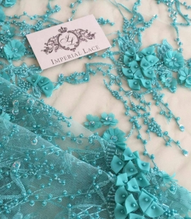Green color 3D lace fabric