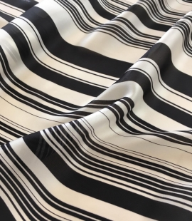 Silk Crepe fabric with white and black print