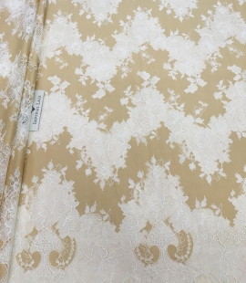 Dark beige lace fabric