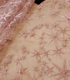 Old Rose stars embroidery on tulle fabric