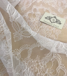 Lace fabric snow white color