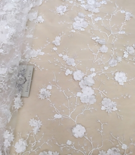 Ivory embroidery base nude soft lace