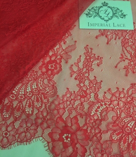 Raspberry red floral chantilly lace fabric