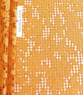 Rust tone color chantilly lace fabric