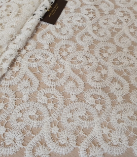 Ivory macrame lace fabric