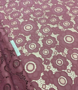 Dark Raspberry Red Lace Fabric