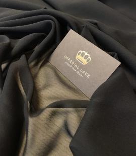 Black silk with elastane crepe chiffon fabric
