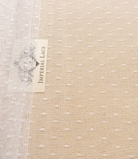 Snow white soft dotted tulle fabric