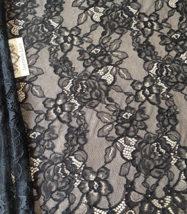 Black floral pattern lace fabric