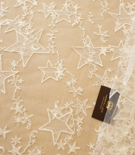 Ivory star pattern embroidery on tulle with beads and chantilly details lace fabric