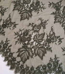 Tobacco green lace fabric
