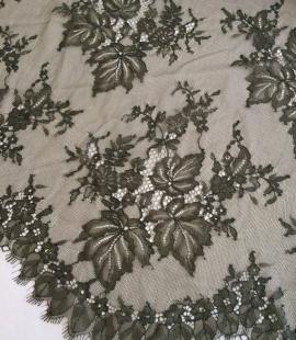 Tobacco green lace fabric