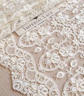 Ivory natural embroidery on tulle lace fabric by Jean Bracq