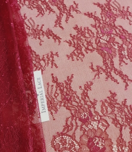 Bordo red chantilly lace fabric