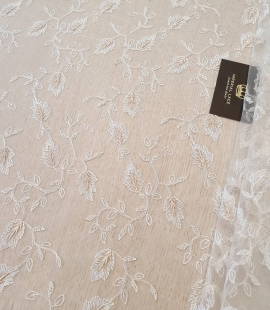 Ivory with beige embroidery lace fabric
