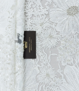 Offwhite with silver big floral embroidery on tulle fabric