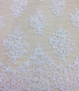 Ivory beads Lace fabric