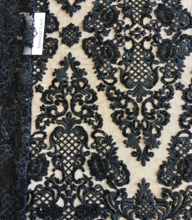 Black 3D lace fabric