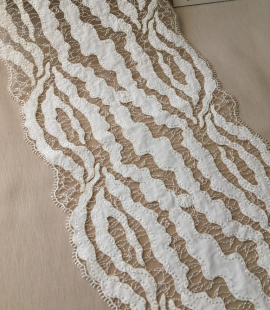 Elastic ivory lace trimming