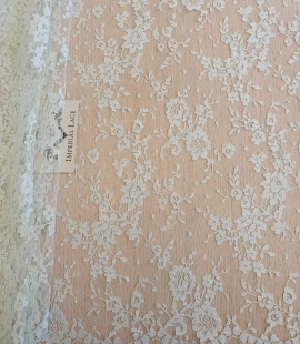 Light mint chantilly cotton lace fabric