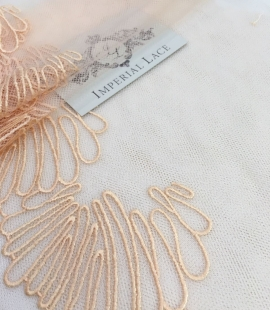 Salmon embroidery on tulle French Lace