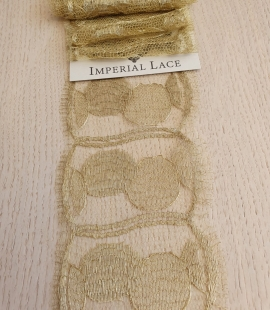 Gold chantilly lace fabric