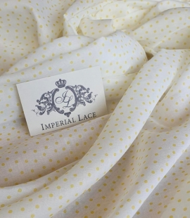 White with yellow dots cotton fabric