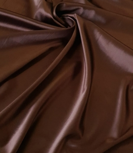 Chocolate brown satin with elastane