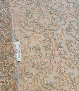 Beige peace embroidery fabric