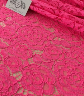 Electro pink guipure lace fabric