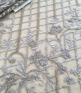 Cappuccino brown beaded lace fabric