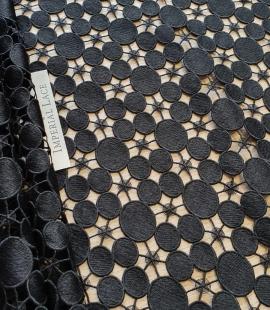 Black macrame lace fabric