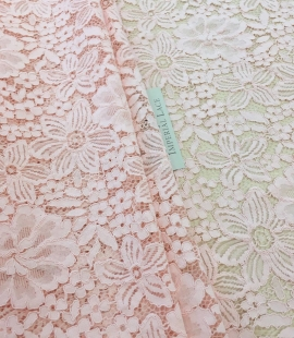 Salmon pink floral guipure lace fabric