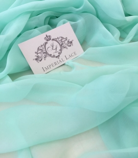 Mint green silk chiffon